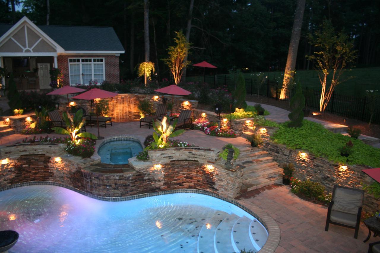 Освещение двора частного дома своими руками фото
